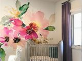 Girl Room Mural Wall Removable Wallpaper Mural Peel & Stick Flowers Watercolor