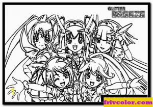 Glitter force Coloring Pages Printable Glitter force Pages Five Precure Girls Darmowe Kolorowanki