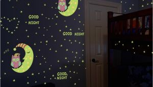 Glow In the Dark Space Wall Mural Glow In the Dark Owl Moon Stars Luminous Wall Stickers for