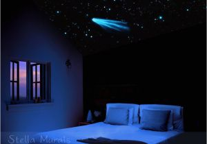 Glow In the Dark Star Murals Night Sky Star Ceiling Moon Et Shooting Stars Glow In the Dark Stickers and Decals