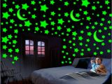 Glow In the Dark Wall Murals for Sale Divi Glowing Radium 3 Moon 96 Star Pvc Wall Stickers Buy