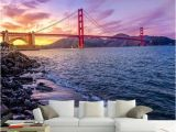 Golden Gate Bridge Wall Mural 3d Wallpaper Romantic Seaside Landscape Sunset Bridge Wall Murals Living Room Restaurant Cafe Creative Background Wall 3 D Best Wallpapers High