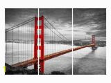 Golden Gate Bridge Wall Mural Sf Golden Gate Bridge 3 Panel Split Canvas Triptych Color