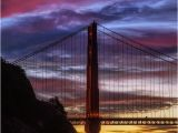 Golden Gate Bridge Wall Mural Sunset at Golden Gate Bridge In San Francisco California