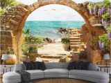 Golf Mural Wallpaper Custom 3d Mural Wallpaper Garden Stone Arch Sea View 3d Background