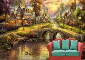 Golf Wallpaper Murals European Style Village forest House Night Scene Pil Painting Tv Wall