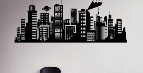 Gotham City Wall Mural Gotham City Wall Decal Batman Night City Vinyl Sticker Ics Home