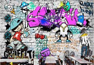 Graffiti Brick Wall Mural Afashiony Custom 3d Wall Mural Wallpaper Fashion Street Art
