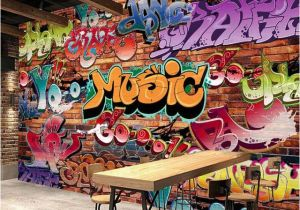Graffiti Brick Wall Mural Custom Wall Mural 3d Embossed Brick Wallpaper Graffiti Art