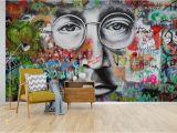 Graffiti Brick Wall Mural Self Adhesive] 3d Beatles Graffiti 55 Wall Paper Mural Wall