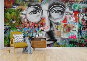 Graffiti Brick Wall Mural Self Adhesive] 3d Beatles Graffiti 55 Wall Paper Mural Wall
