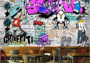 Graffiti Brick Wall Mural Us $30 72 Custom Fashion Mural Trend Street Art Graffiti Decorative Wallpaper Hip Hop Brick Wall Tea Restaurant Background Wallpaper In