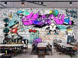 Graffiti Brick Wall Mural Us $8 85 Off Beibehang Custom Wallpaper Fashion Trend Street Art Graffiti Brick Cafe Bar Restaurant Painting Background Wall 3d Wallpaper In