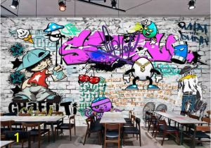 Graffiti Brick Wall Mural Us $8 85 Off Beibehang Custom Wallpaper Fashion Trend Street Art Graffiti Brick Cafe Bar Restaurant Painting Background Wall 3d Wallpaper In