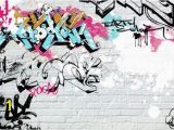 Graffiti Brick Wall Mural White Brick Graffity Wall Mural Wallpaper Wall