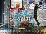 Graffiti Murals for Bedrooms Beibehang 3d Wallpaper Basketball Never Extinguish Graffiti Wall