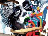 Graffiti Murals for Bedrooms Custom 3d Graffiti Wallpaper the Living Room Backdrop Room 3d Photo