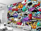 Graffiti Murals for Bedrooms Custom Mural Wallpaper 3d Cartoon Graffiti Simple Modern Children S