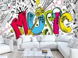 Graffiti Wall Mural Decals Custom 3d Abstract Rock Musical Graffiti Mural Cafe Restaurant