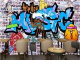 Graffiti Wall Mural Decals Custom 3d Wall Mural Wallpaper Hand Painted Brick Wall Creative