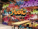 Graffiti Wall Mural Decals Custom Wall Mural 3d Embossed Brick Wallpaper Graffiti Art Cafe Bar