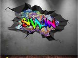 Graffiti Wall Mural Decals Personalised Name Full Colour Graffiti Wall Decals Cracked 3d Wall