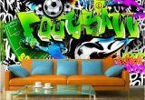 Graffiti Wall Mural Decals Wallpaper Wall Murals Non Woven Graffiti Football soccer Art