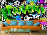 Graffiti Wall Mural Decals Wallpaper Wall Murals Non Woven Graffiti Football soccer Art