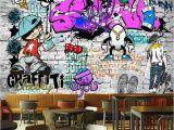 Graffiti Wall Mural Wallpaper Us $30 72 Custom Fashion Mural Trend Street Art Graffiti Decorative Wallpaper Hip Hop Brick Wall Tea Restaurant Background Wallpaper In