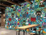 Graffiti Wall Mural Wallpaper Us $8 85 Off Beibehang Custom Wallpaper Europe and the United States Cartoon Abstract Graffiti theme Restaurant Mural Wall Background In