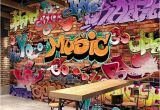 Graffiti Wall Murals for Bedrooms Custom Wall Mural 3d Embossed Brick Wallpaper Graffiti Art
