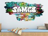 Graffiti Wall Murals Uk Personalised Graffiti Brick & Name Wall Sticker Decal Graphic Tr45