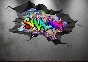 Graffiti Wall Murals Uk Personalised Name Full Colour Graffiti Wall Decals Cracked 3d Wall
