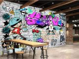 Graffiti Wall Murals Wallpaper Beibehang Custom Wallpaper Fashion Trend Street Art Graffiti Brick Cafe Bar Restaurant Painting Background Wall 3d Wallpaper