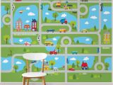 "Graphic Murals for Walls Tyngsborough Road Map Peel and Stick 9 83 L X 94"" W Wall Mural"