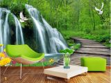 Green forest Wall Mural Lwcx Custom Mural 3d Wallpaper forest Falls Bridge