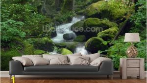 Green forest Wall Mural Mossy Waterfall In 2019