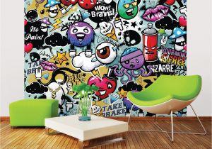 Green Monster Wall Mural Ohpopsi Graffiti Monster Wall Mural Wals0004