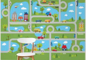 "Green Monster Wall Mural Tyngsborough Road Map Peel and Stick 9 83 L X 94"" W Wall Mural"