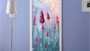 Grey Petals Wall Mural 3d Bright Red Flower Painting Door Mural
