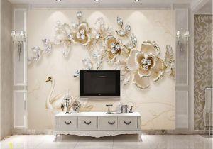 Grey Petals Wall Mural Beibehang 3d Wallpaper 3d Stereo Luxury Continental Swan