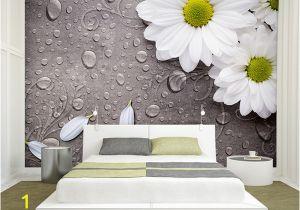 Grey Petals Wall Mural Custom 3d Wallpaper Bedroom for Walls White Water Droplets Flower Background Decorative Wall Murals Wallpaper Living Room 3d Wallpaper 3d