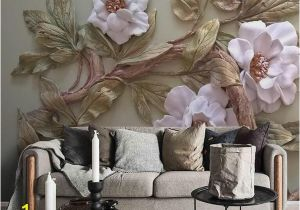 Grey Petals Wall Mural Customize Any Size 3d Wallpaper Mural Stereoscopic Relief Flower Tree Living Room Bedroom Tv Background Wall Decoration Mural Wallpaper Girls