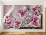 Grey Petals Wall Mural Pink Flowers On Grey Background Pattern Wallpaper Mural