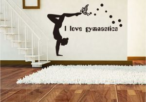 Gymnastics Wall Murals I Love Gymnastics Wall Stickers Dancing Girl Decorative Wallpapers