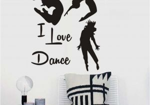 Gymnastics Wall Murals Modern I Love Dance Vinyl Removable Wall Decal Gymnastics Dance Home