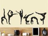 Gymnastics Wall Murals Six Dance Girls Gymnastics Wall Sticker Sport Vinyl Art Wall Mural