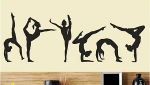 Gymnastics Wall Murals Six Dance Girls Gymnastics Wall Sticker Sport Vinyl Art Wall Mural