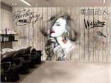 Hair Salon Wall Murals Beibehang Wallpaper nordic Hair Salon Hairdresser Beauty Salon