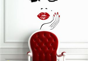 Hair Salon Wall Murals Wall Decals Face with Hand Wall Vinyl Decal Manicure Nail Lips
